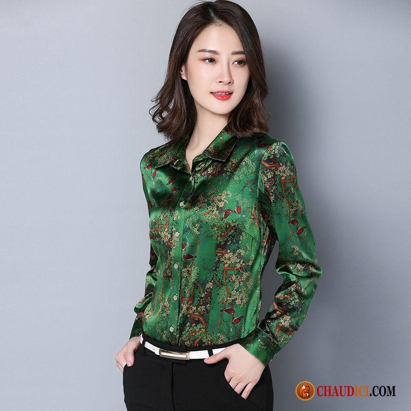 chemisier blanche femme pas cher soie impression maman printemps une veste. Black Bedroom Furniture Sets. Home Design Ideas