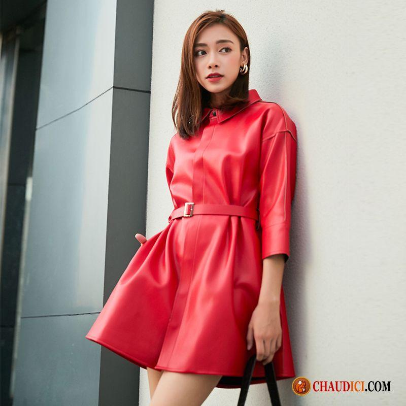 Veste Hiver Chaud Femme Rouge Printemps Baggy Coupe Vent Manteau Nervurées Pas Cher