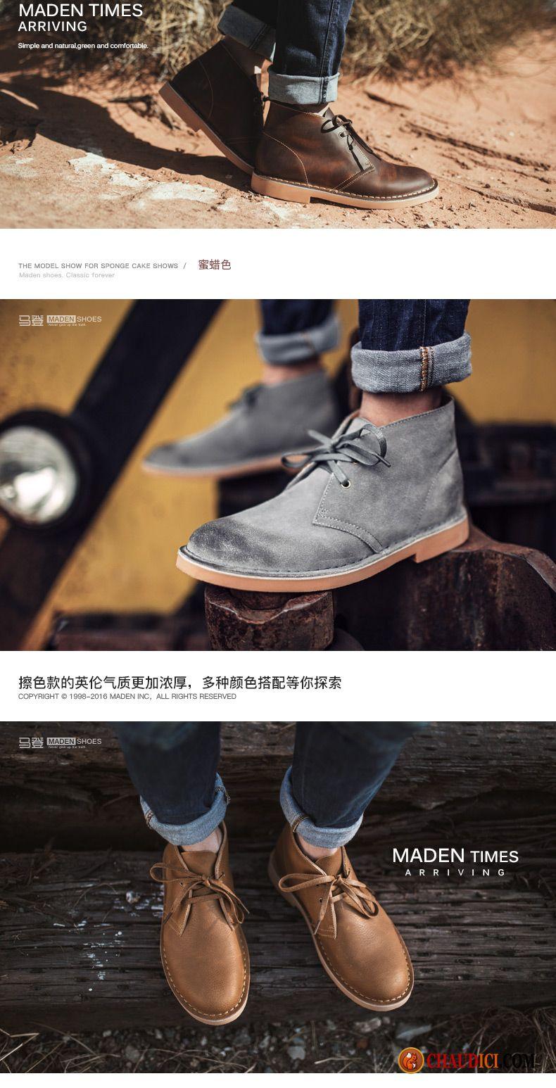bottes cuir marron homme bottes chaussures de travail cuir v ritable tendance homme. Black Bedroom Furniture Sets. Home Design Ideas