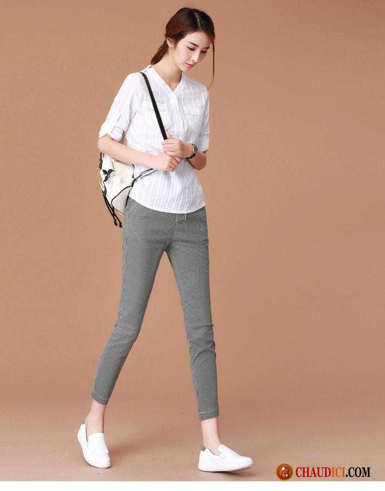 bbfc9aac646e8 Pantalon Pastel Femme Crème Tendance Leggings Pantalons Maigre Carreaux