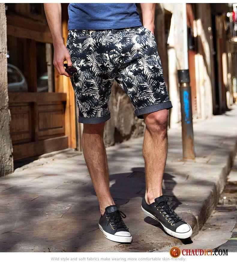 Shorts Soldes Impression Cinquième Slim Tendance Chic Été Pantalon Homme  8RTw8qr 172469b1ff84