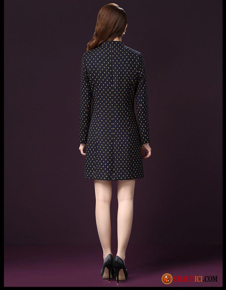 Veste Longue Noir Femme Manteau Slim Grande Taille Longue Coupe Vent Pas Cher