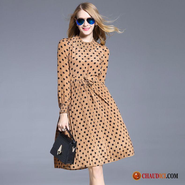 Acheter Robe En Ligne Longue Femme Point D Onde Robe Printemps Soldes