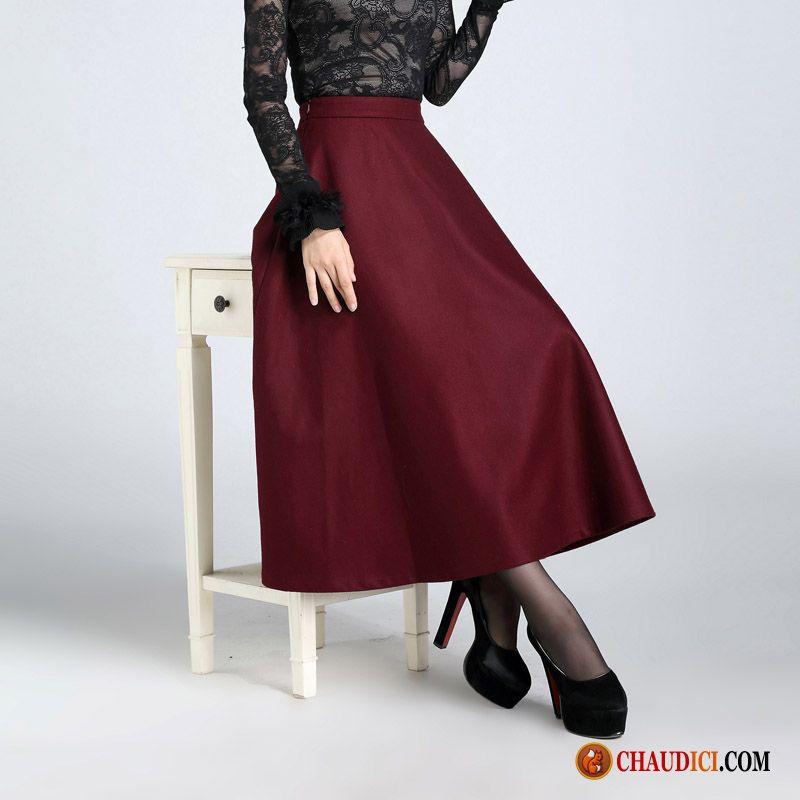 089443aa6a0d9c Acheter Une Jupe Femme Demi-jupe Tissu De Laine Hiver L'automne Pas Cher