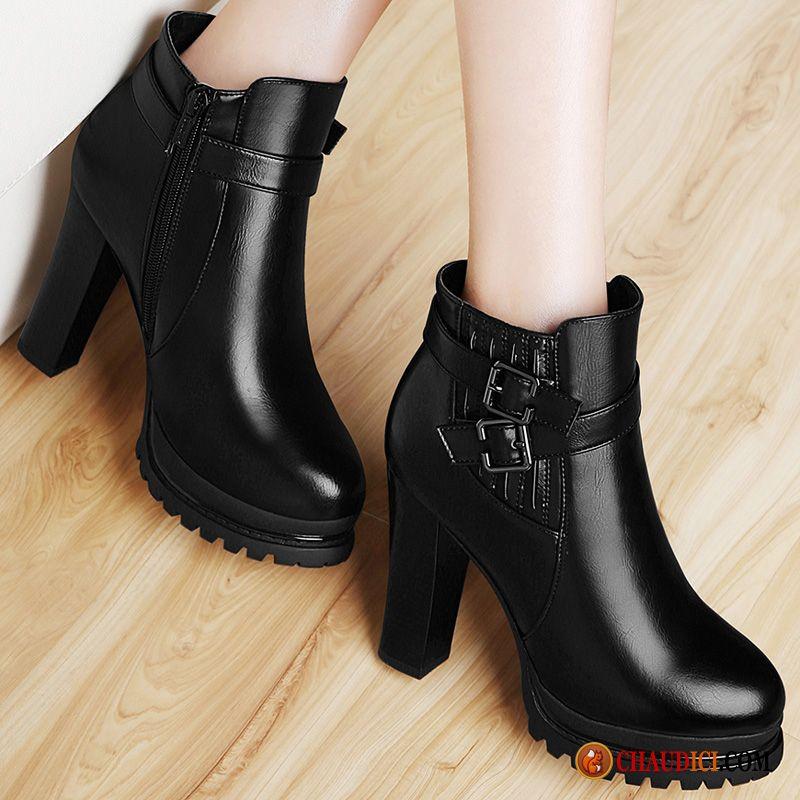 grandes variétés qualité haute qualité Boots Cuir Femme Marron Bout Rond Épais L'automne Talons ...
