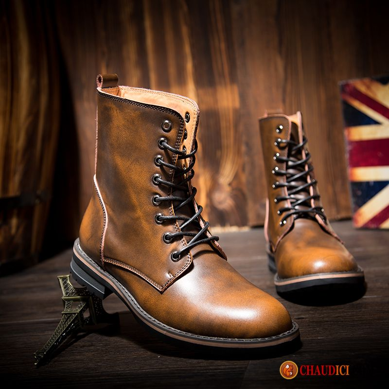 5cbd86eac8155a Boots Homme A Lacets Seagreen Bottes Angleterre En Cuir L'automne Tendance  Pas Cher