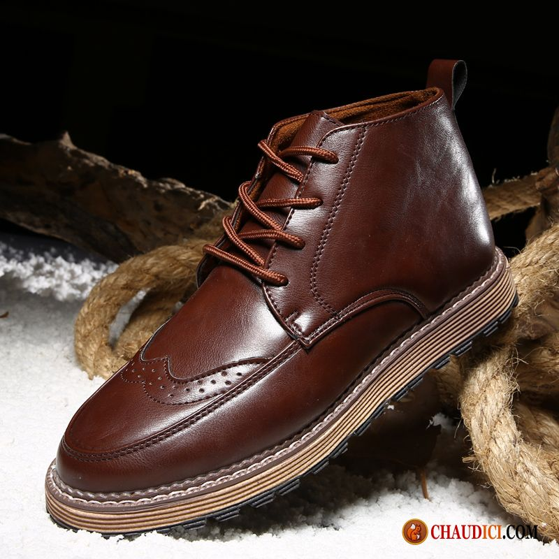 Bottes Homme Cuir Montante Angleterre Bottes Martin Hautes Hiver Homme