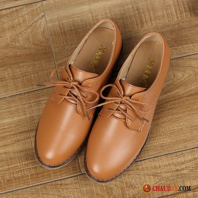 Flats Brun Plates Étudiant Printemps Chaussure Derbies Cuir Montante z7nw4qX1