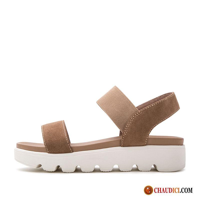 0a5f70a59 Chaussure Sandales Femme Marron Simple Plateforme Talon Moyen Été Dame
