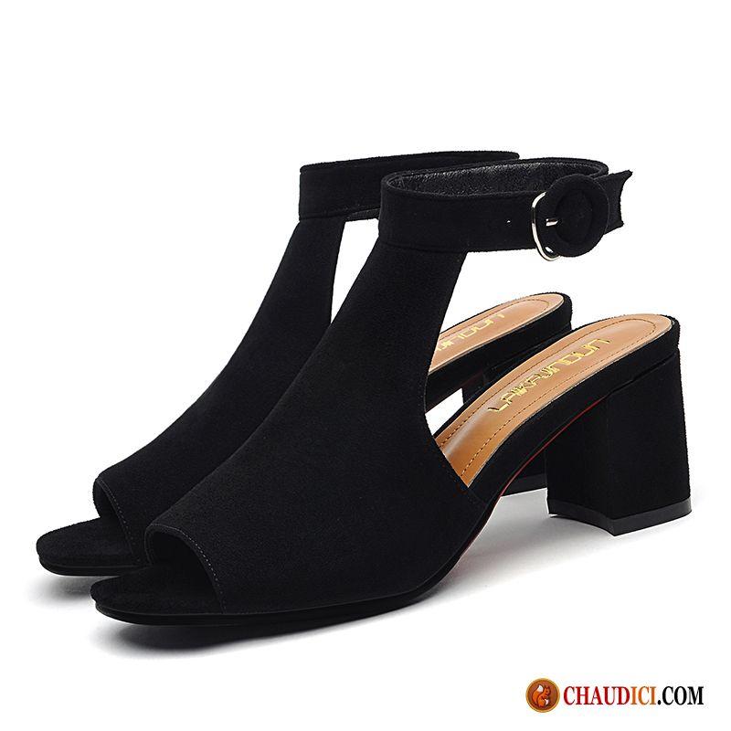 Escarpins Chaussure Sandales Femme 0ok8wpn Moyen Peep Orteil Talon Épais KJlFT1c
