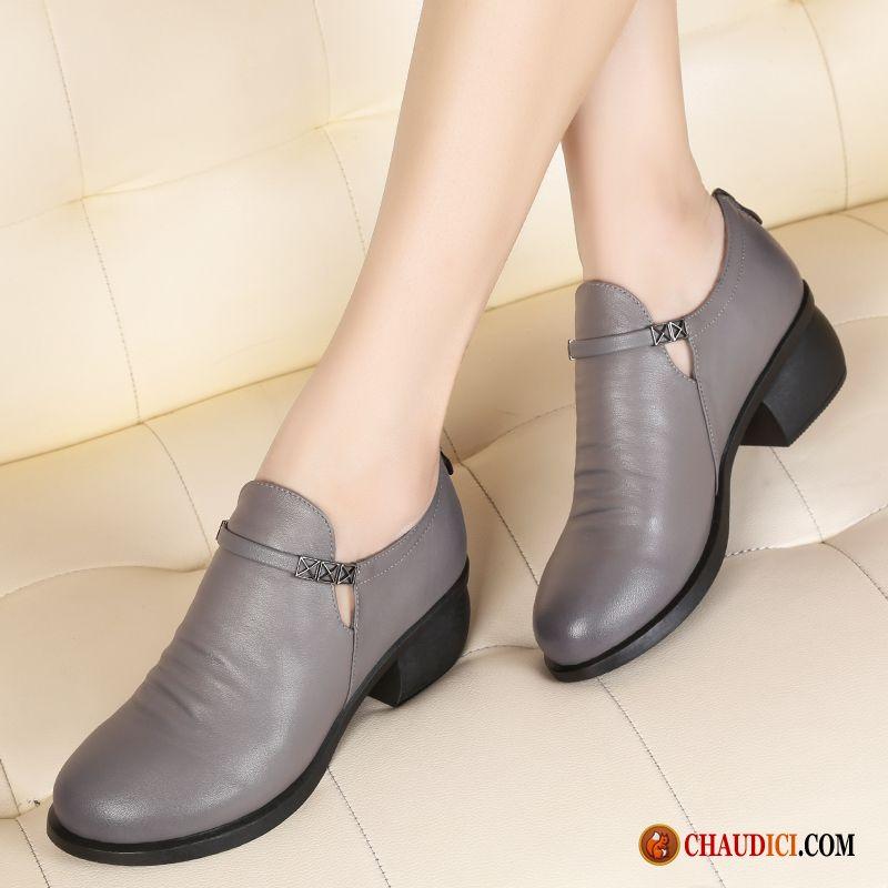 Chaussures Femmes Italiennes Cuir Noir Cuir Véritable Dame Derbies  Angleterre Épais Pas Cher