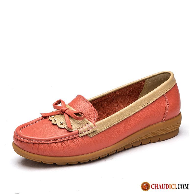 dae421a9d212a Chaussures Femmes Marques Cuir Véritable Derbies Doux Chaussures De  Conduite Talons Compensés Soldes