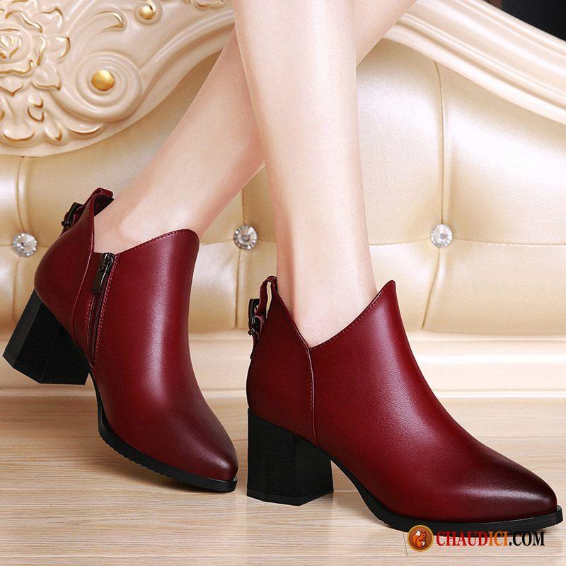 9395f0cf3f05b6 Chaussures Femmes Marques Derbies Cuir Cuir Véritable Épais Escarpins