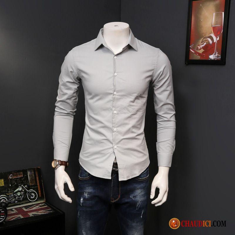 Chemise Slim En Gris Jean Printemps Longues Homme Fashion Légère rrqaxw