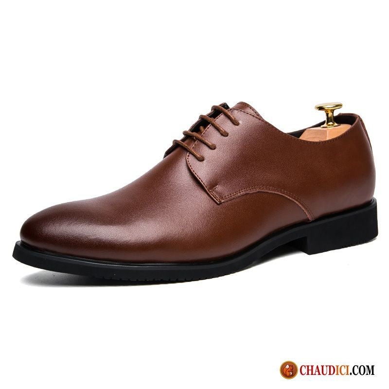 Cuir Chaussures Homme Respirant Angleterre Entreprise Printemps Pointe Pointue