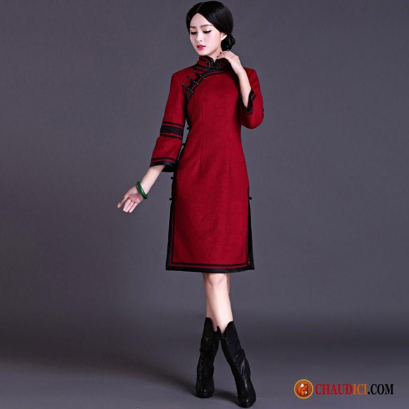 Classique Longue Pas Robe Slim Manche Des Rouge Cher P80OknNwX