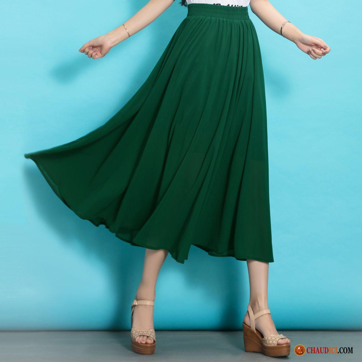 b862859d8299a Jupe Tres Longue Femme Mousseline De Soie Printemps Demi-jupe Pure Été Pas  Cher
