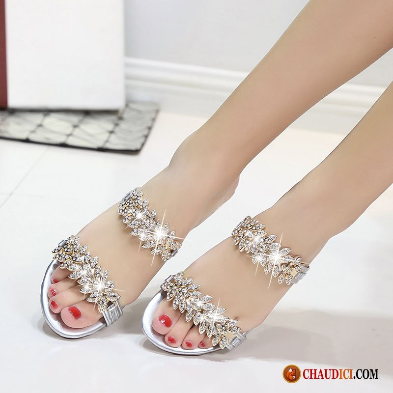 Les Chaussures Sandales Femme Tomate Imitation Strass Sandales Beauté Tongs Chaussons Antidérapant