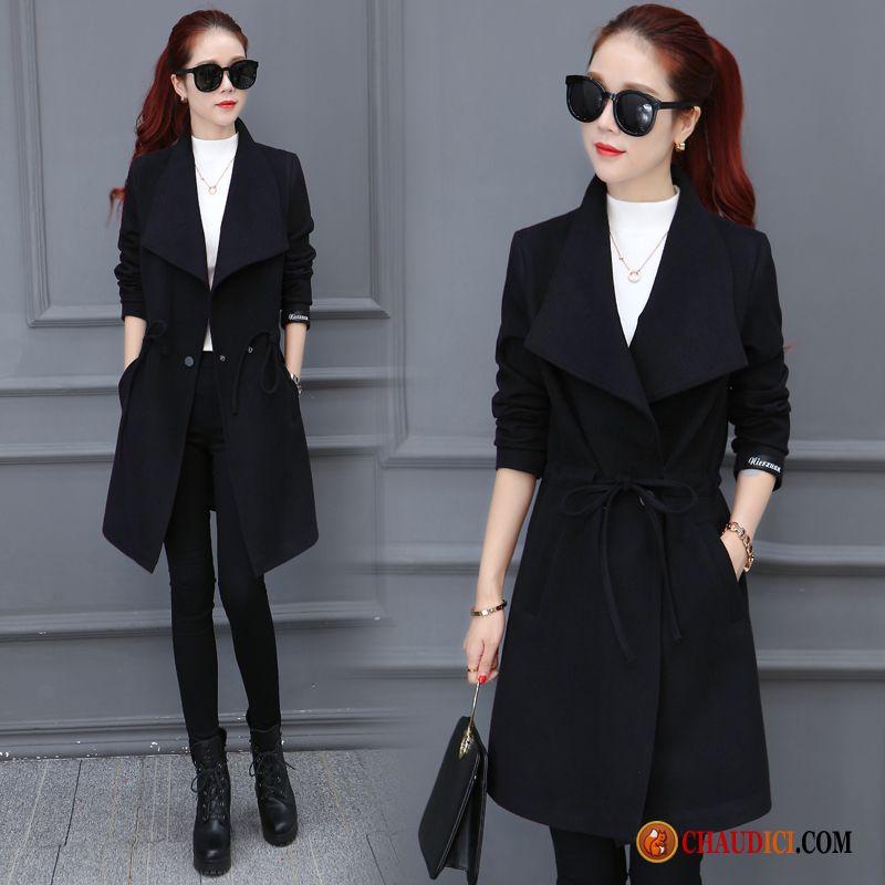 manteau hiver femme noir cintré