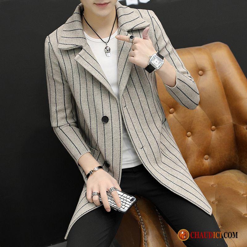 ea003f28fd19 Marque De Manteau D Hiver Homme Longue En Maille Coupe Vent Costume Slim  Pas Cher