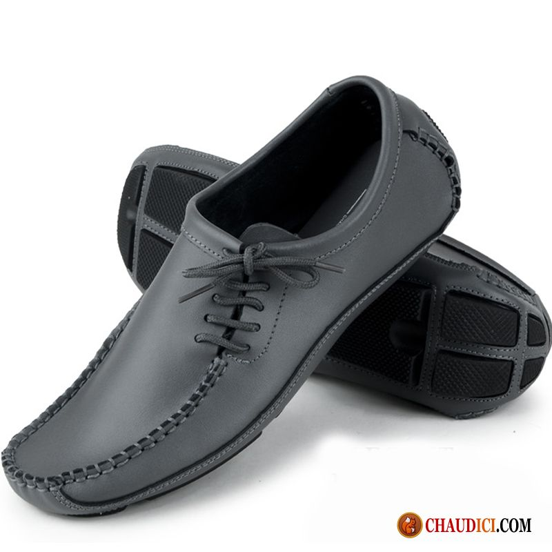 Marque Mocassin Homme Grande Taille Jeunesse Gris Tendance Angleterre Pas Cher