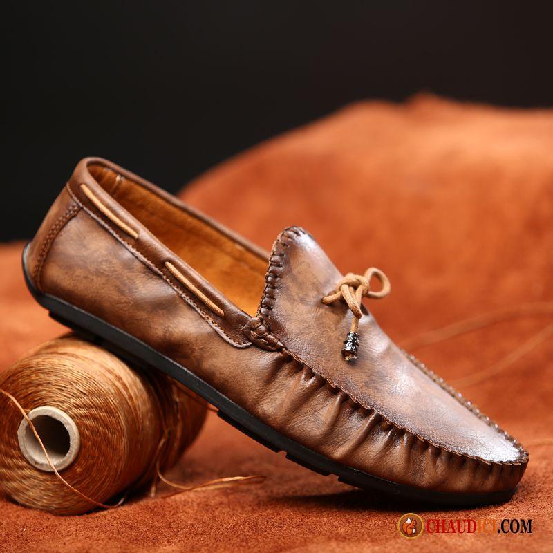 Mocassin Homme Cuir Souple Lilas Marron Chaussures De