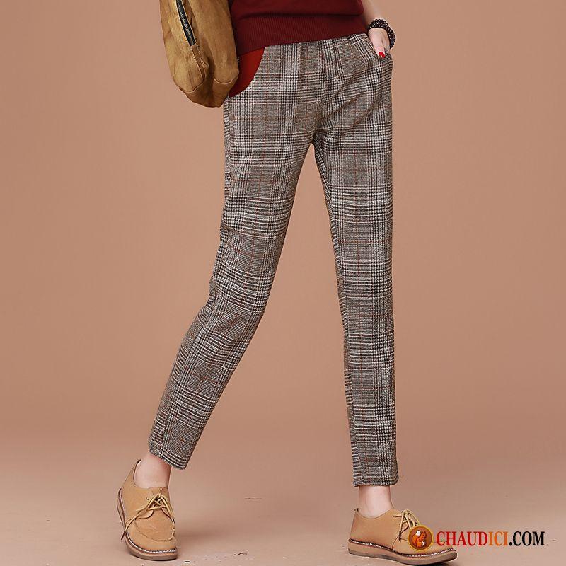 Femme Été France Pantalon Printemps Carreaux Longue Pantalons DWE2Y9HI