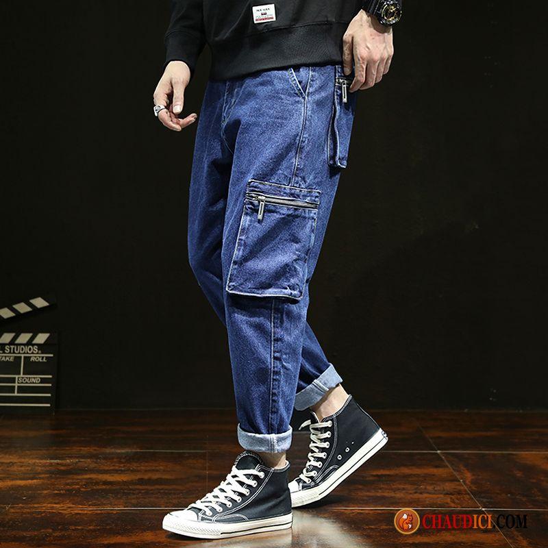 9edf12858dcf9 Pantalon Cargo Détente Homme Coton Bleu Marin Baggy Multi-poche Homme Jeans  Soldes