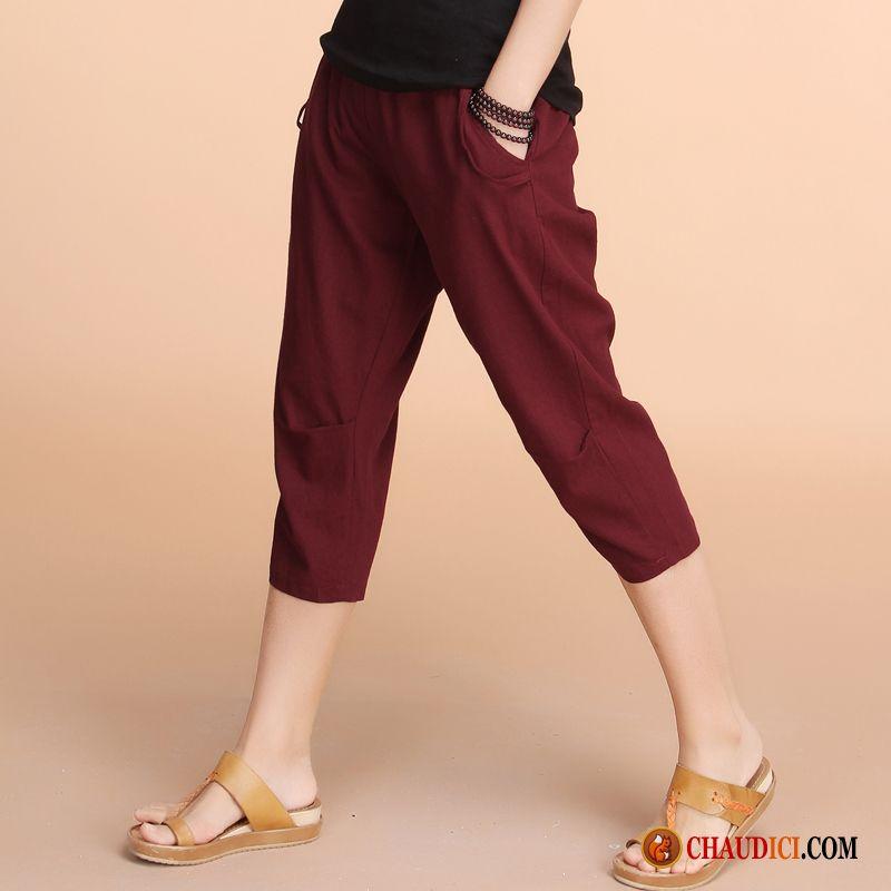 ca0d9d34ee2 Pantalon Droit Noir Femme Septième Pantalon Été Baggy Grande Taille Femme  Pas Cher