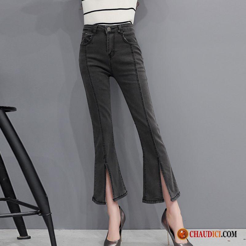 Pantalon En Solde Femme Jean Évasé Tendance Jeans Femme Printemps Pas Cher 2d3e2c07cef