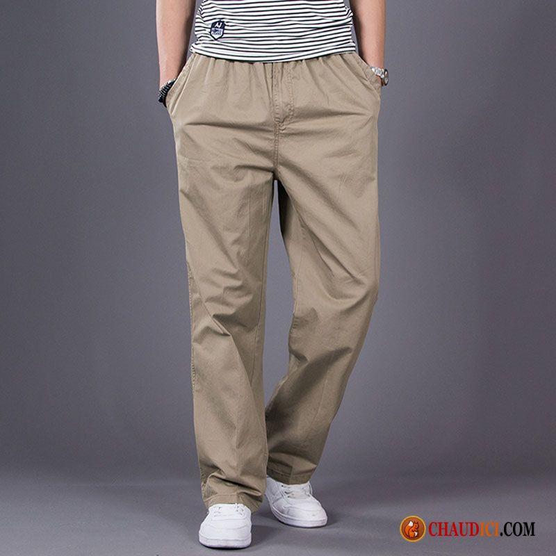 Homme Légère Pantalons Baggy Grande Gros Pantalon Lin Taille Noir MUVpSz