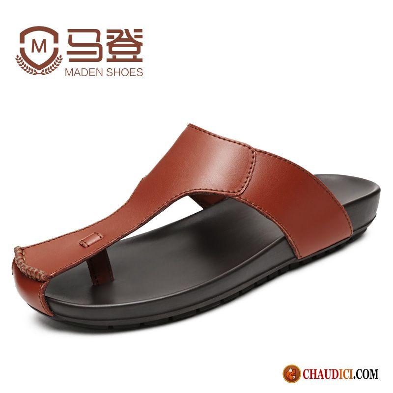 Sandales Homme Tongs Véritable Chaussons Chaussures Promo Cuir 54LqR3Aj