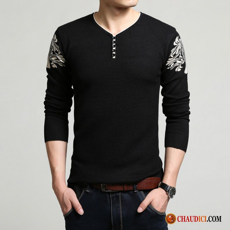 Pull Long Homme Floral Jeunesse Pull Tendance Slim