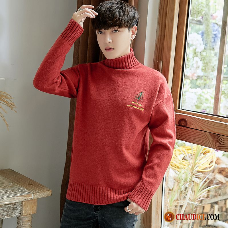 Pull Tendance Pas Cher Homme Homme Rouge Pullovers Jeunesse Revers Roulé