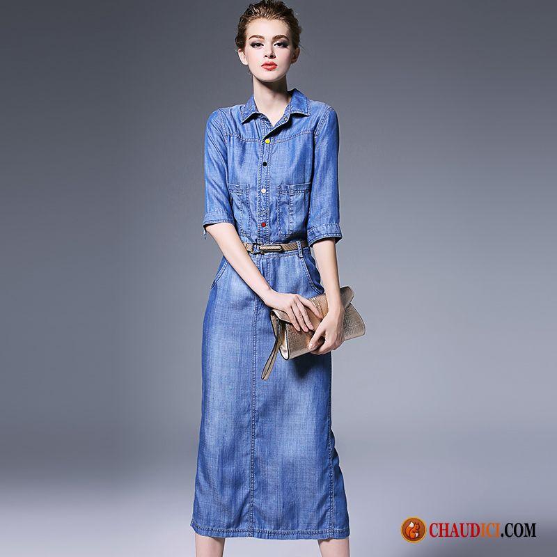 Robe jean femme longue