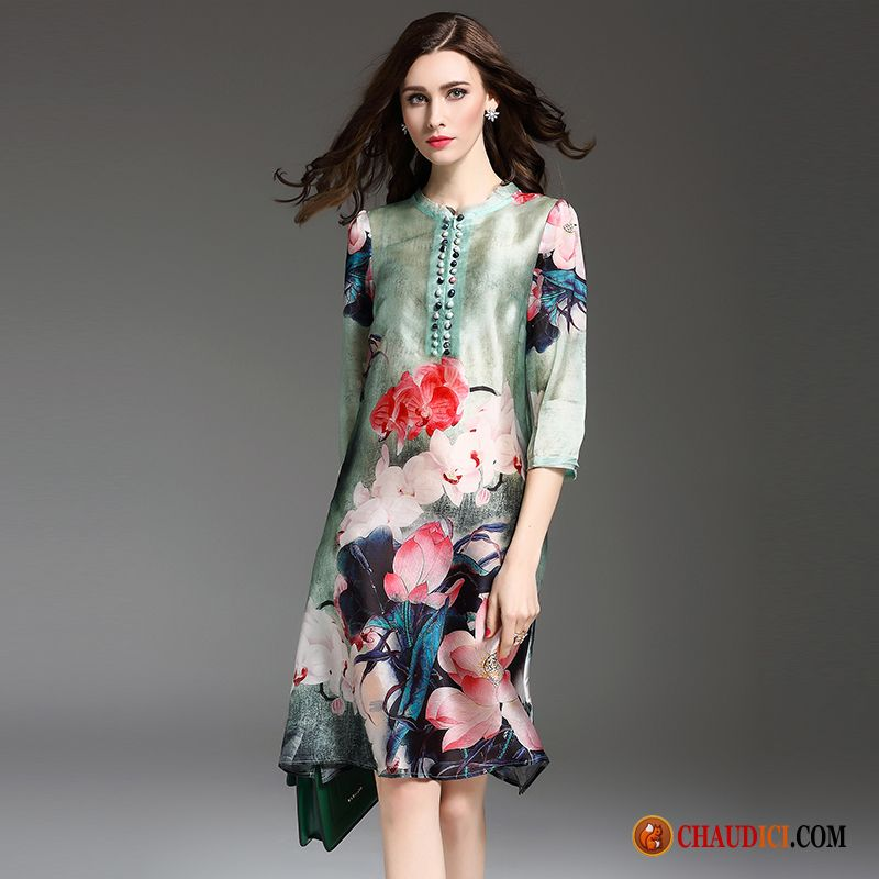 d7201575895 Robe De Soirée Mariage Violet Robe Style Chinois Impression Baggy A Lettre