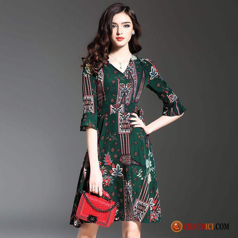 afea74a304e Robe En Maille Femme Style National Robe Haute Cintrée A Lettre Impression Pas  Cher
