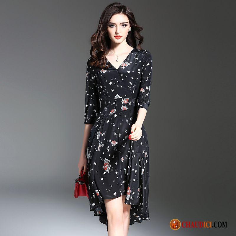 2f832f0bbc1 Robe Longue Été Longue Femme Impression Printemps Soie