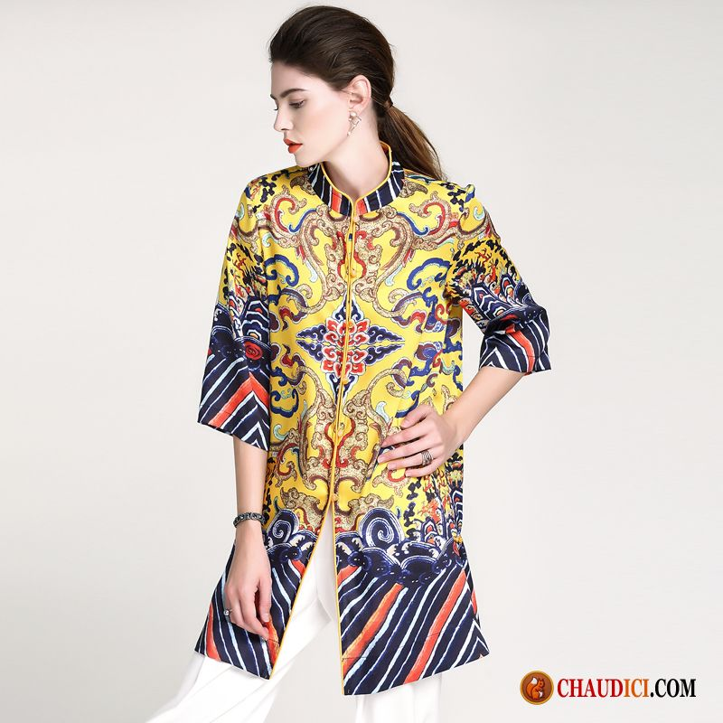 Robe Longue Pas Cher Ete Cheongsam Impression Baggy Style Chinois Robe
