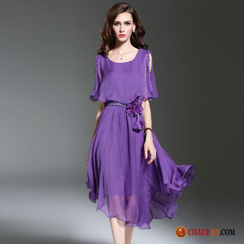 Robe Originale Femme Turquoise Mousseline De Soie Violet Bustier Robe Ete Pas Cher