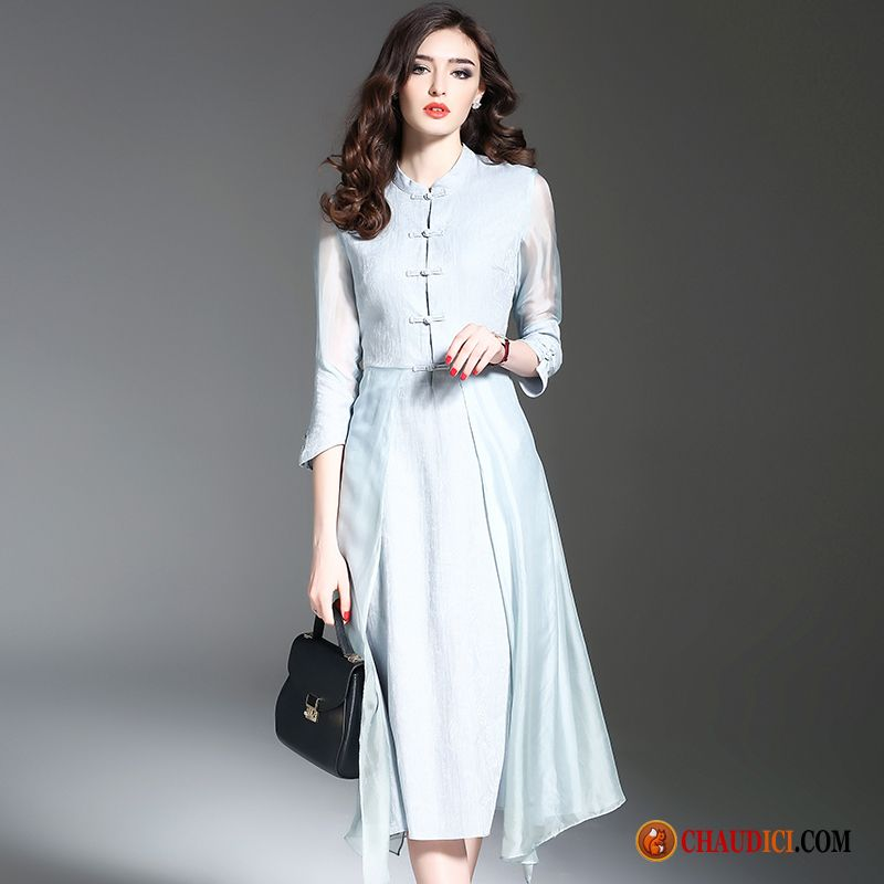 7b837c7acd9 Robes Manches Longues Pour Femme Soie Mince Rétro Style Chinois Robe