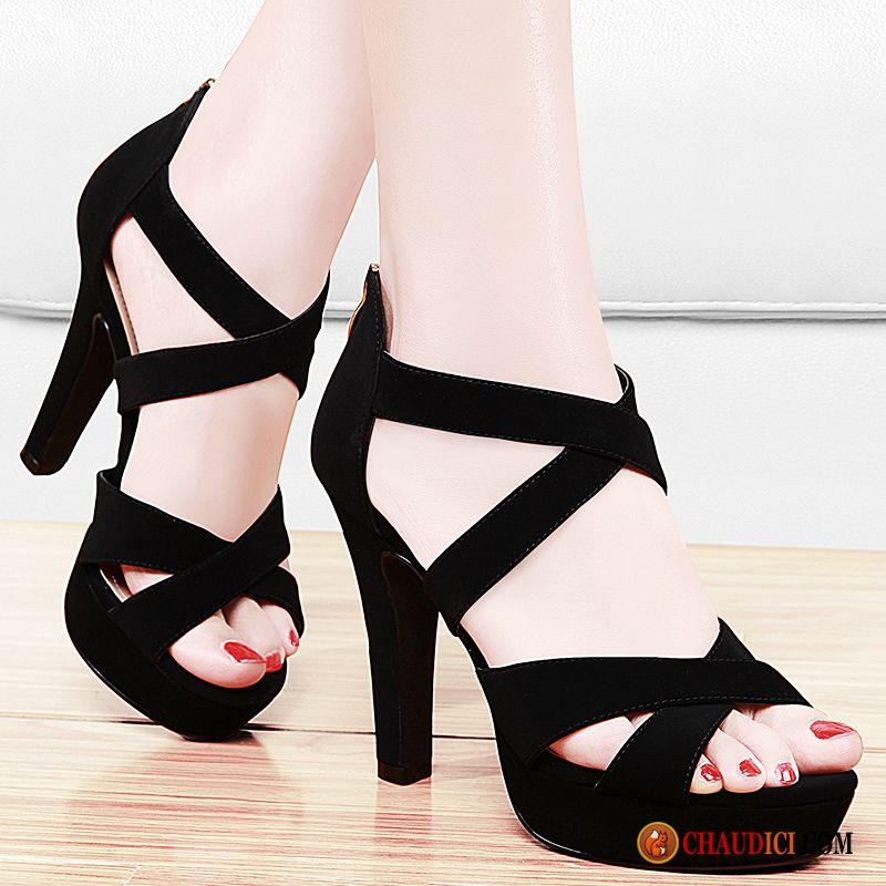 Sandales Femme Noir Cuir Sandales Escarpins Femme Épais Les
