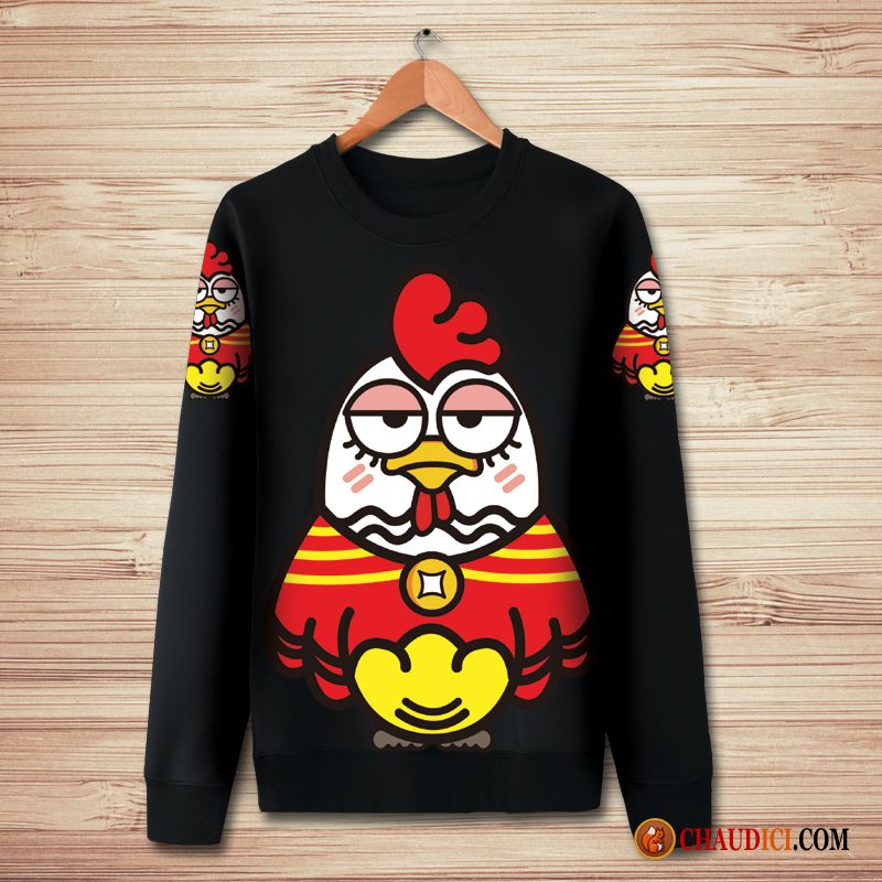 Sous Sweat A Capuche Col Cheminee Homme Dessin Anime Pullovers