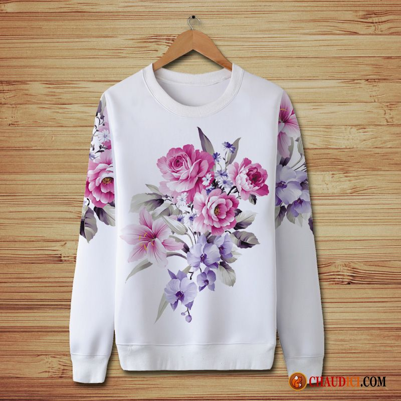 qualité parfaite magasin britannique 100% d'origine Sweat À Capuche Homme Pas Cher Col Rond Style Chinois Fleur ...