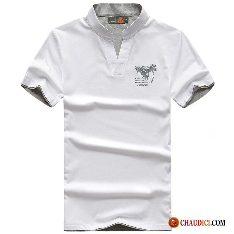 09819d382e0 T Shirt Homme Stylé Homme Une Veste Sport Demi Manche Col V Soldes