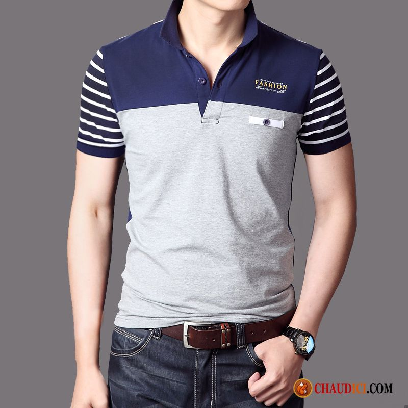 Trigo Solapa manga Polo Laminado Camiseta Cuello Media Hombre Verano m80nNw