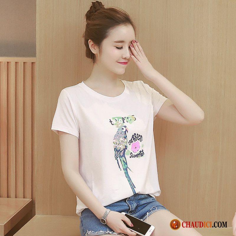 En Shirt Femme Coton Impression Été Tee Long Sport Chemise Bas 5j4A3RLq