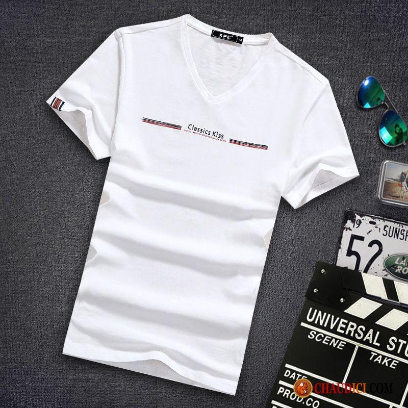 00657da653c17 Tee Shirt Pas Cher Homme Chameau Col V Une Veste Slim Demi Manche Homme