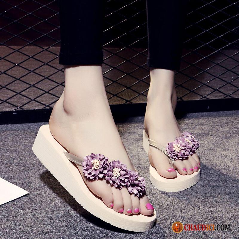 Tongs femme en cuir fantaisie en ligne sur for Vente de fleurs en ligne pas cher