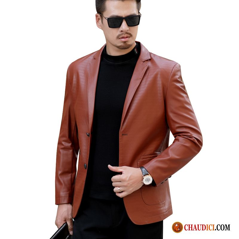 Homme Âge Moyen Printemps Cuir Costume Manteau Sandybrown